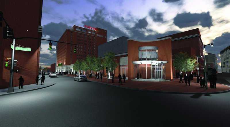An architectural rendering of the proposed Eastland Hotel ballroom shows how the expansion would take up most of the area of Congress Square Plaza.