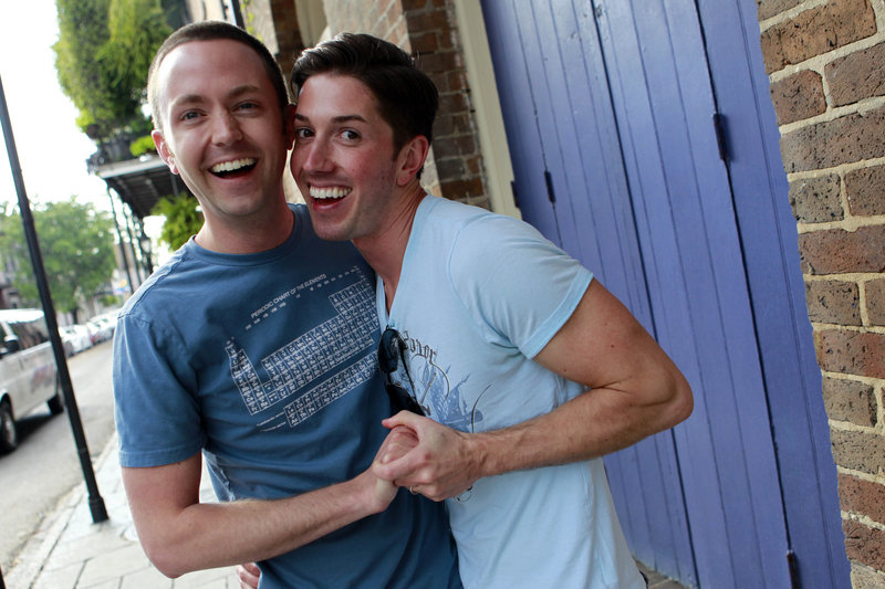 David Peters, right, and Luke Whited, a gay couple who are joined in a civil union in their home state of Illinois, pose before being interviewed about President Obama's statement in support of gay marriage in New Orleans on Wednesday.