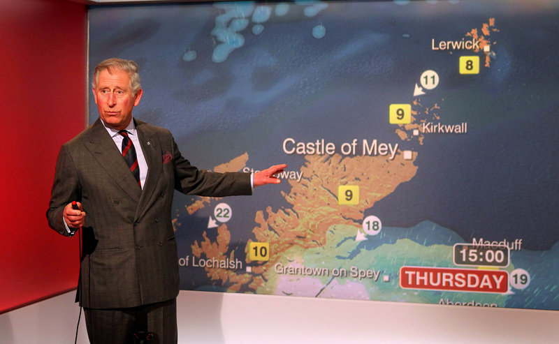 Prince Charles does the weather for the BBC.