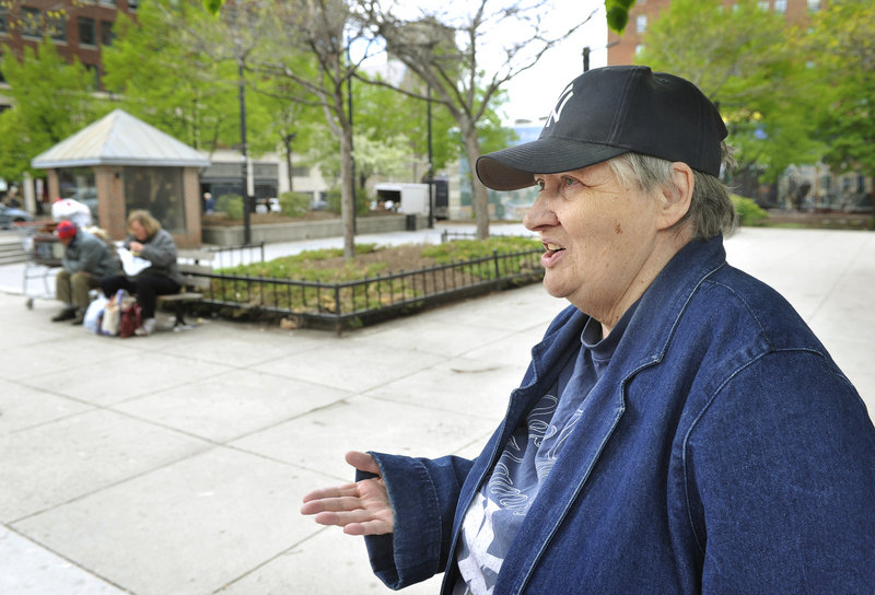 "Seventy-year-old Janice Cole, who lives next to Congress Square Plaza, says she doesn't like to come to the Portland park because it can be a magnet for homeless people and sometimes it doesn't feel safe. ""It's really quite sad,"" she said."