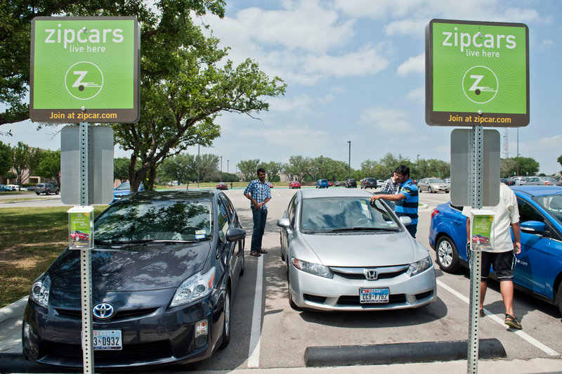 Students take out a Honda Civic Zipcar from the UT-Dallas campus in Richardson, Texas. Zipcar, which went public in 2011, now serves 260 college campuses. It was founded 12 years ago in Cambridge, Mass.