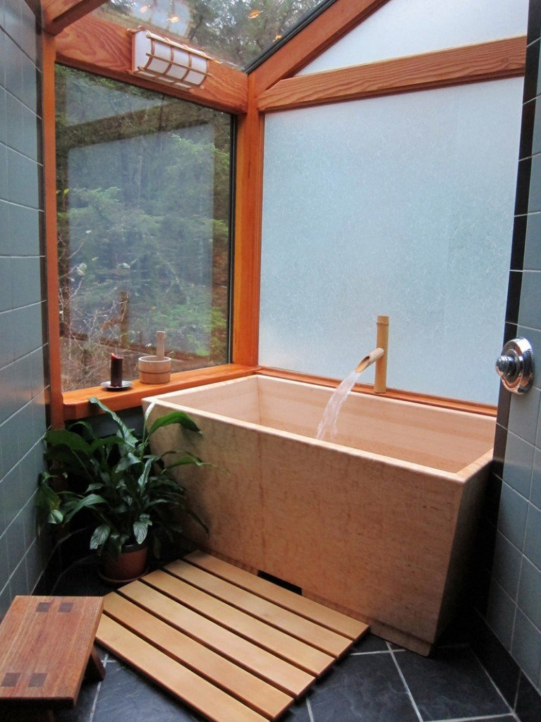 Sea Otter Woodworks' Kyoto soaking tub is made of Hinoki cypress.