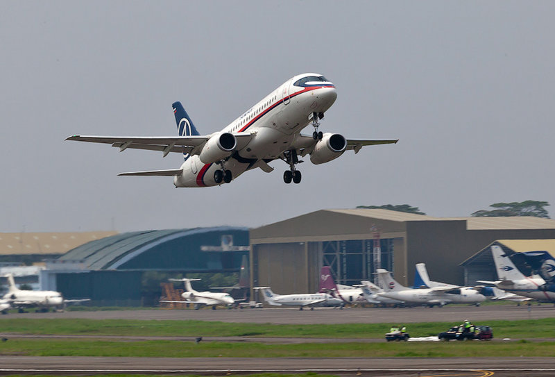 A Russian-made Sukhoi Superjet 100 takes off from Halim Perdanakusuma airport in Jakarta, Indonesia, on Wednesday on its second demonstration flight of the day.