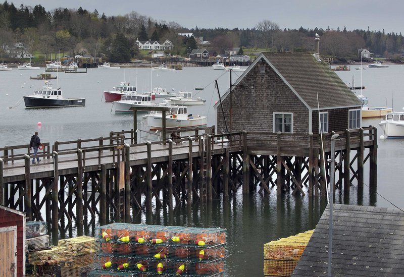 A man walks out on a wharf along Friendship harbor, where two lobster boats owned by a father and son from Cushing were moored when they were set adrift last week.