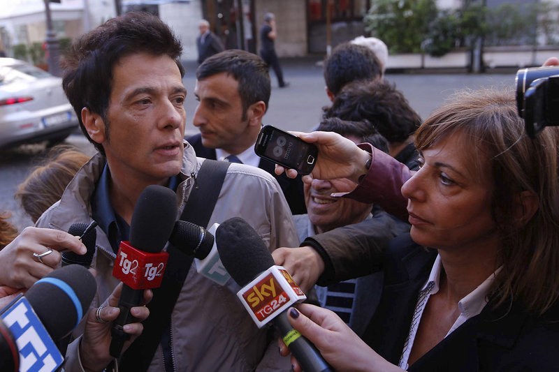 Pietro Orlandi, brother of the missing Emanuela, arrives at Sant'Apollinare Basilica in Rome on Monday.