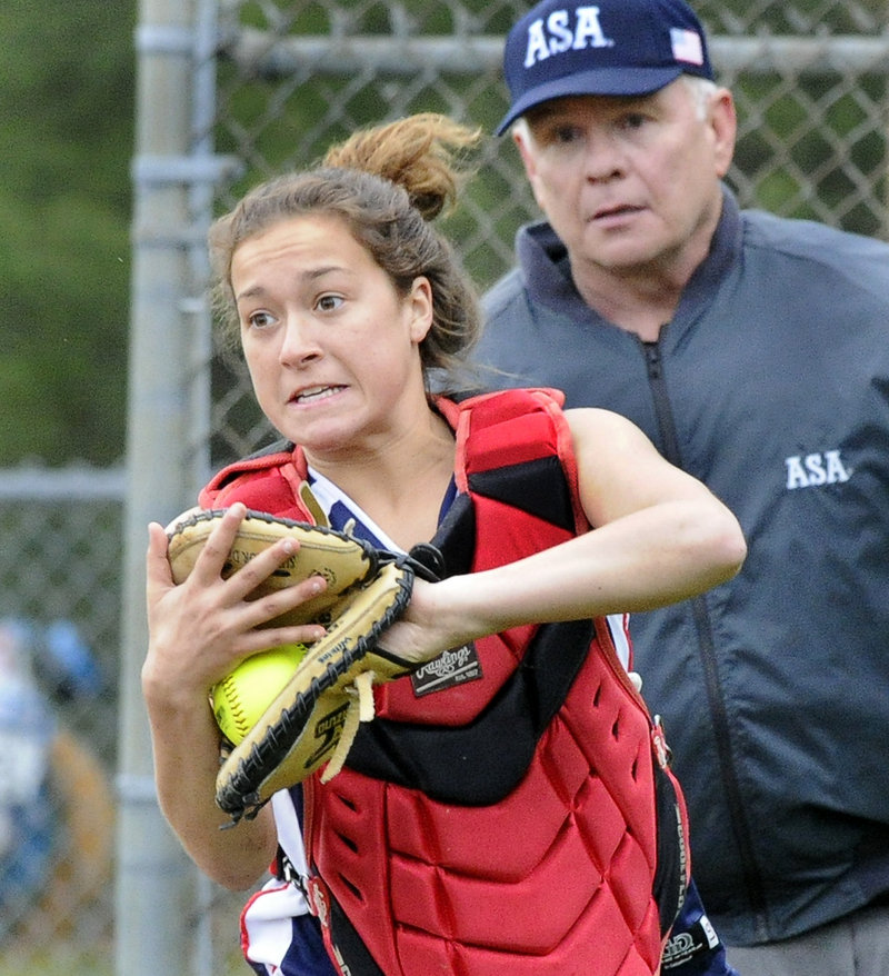 Sammie Wilkins makes a catch for Gray-New Gloucester during Greely's 9-3 win Monday in a game between two of the top-ranked teams in Western Class B.