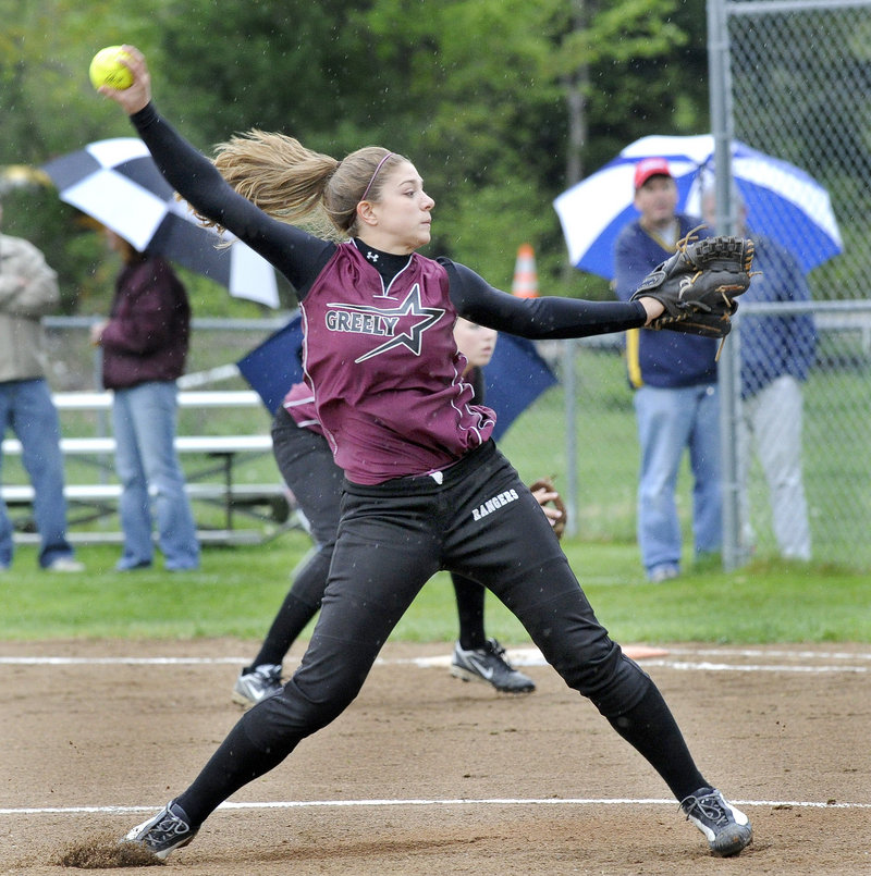 Danielle Cimino pitches against Gray-New Gloucester. She ended the game with a pair of strikeouts to get the win.