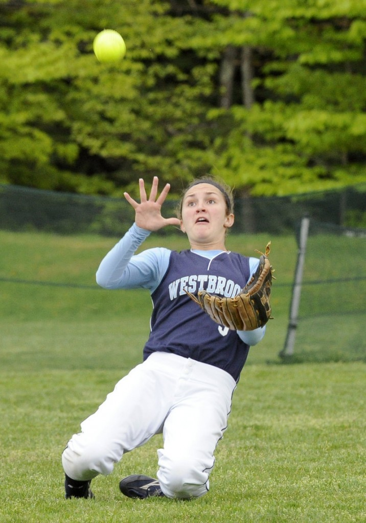 Center fielder Haley Berry of Westbrook keeps her focus on catching a fly ball during the victory against Marshwood.
