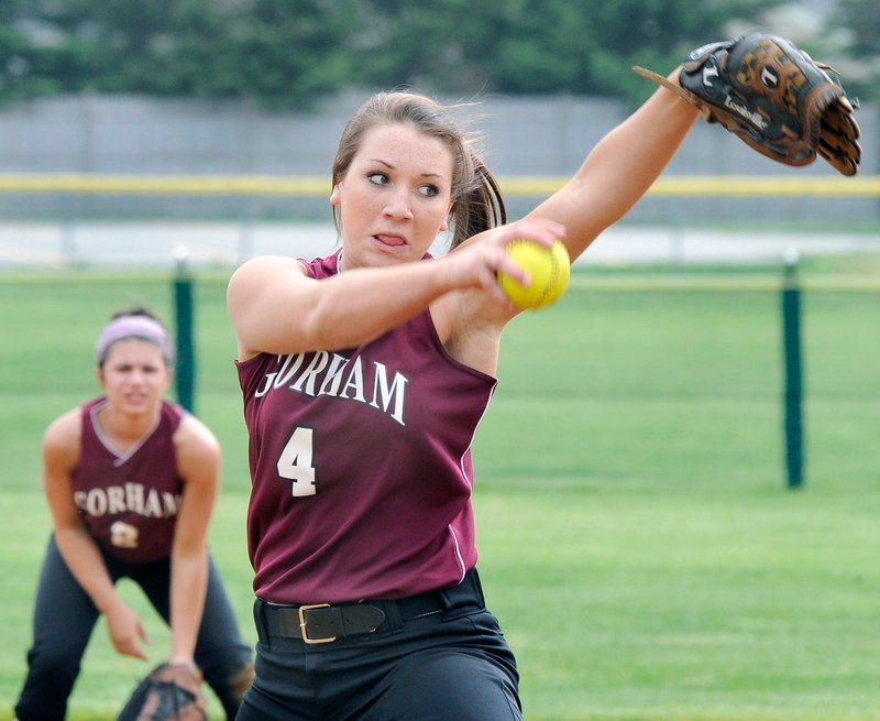 Gorham pitcher Taylor Hansen winds up for a delivery Wednesday against Cheverus, which won the SMAA softball matchup, 6-1.