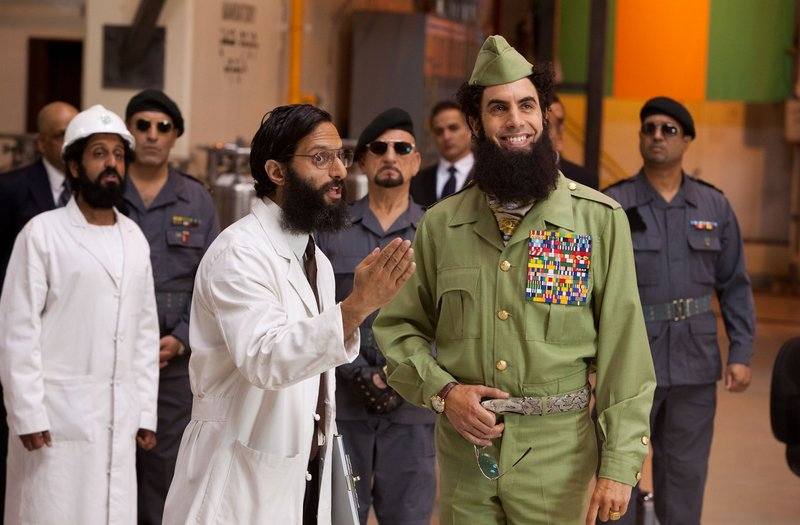 Sacha Baron Cohen plays General-Admiral Aladeen, right, dictator-for-life of the North African nation of Wadiya in the new comedy,