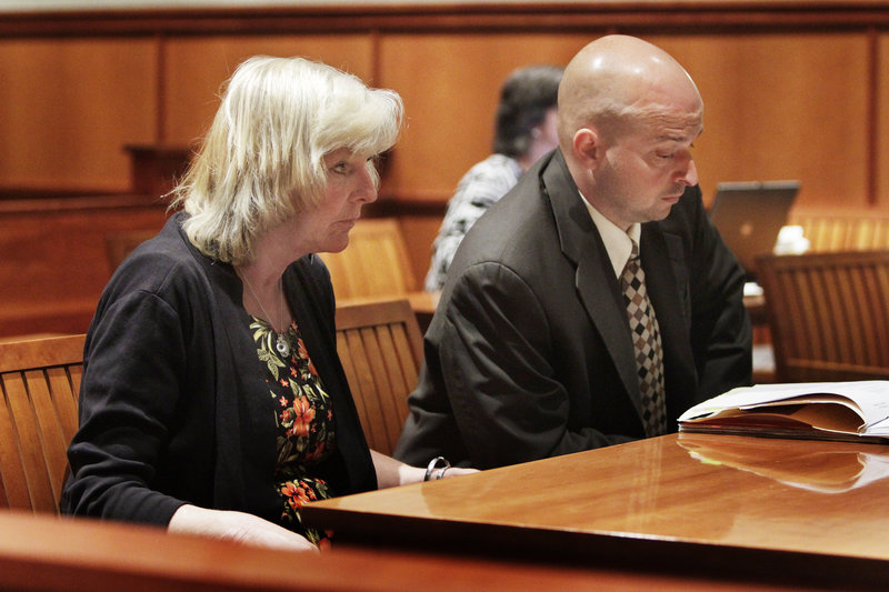 Laureen Rugen appears in Superior Court in Portland Friday with her lawyer J.P. DeGrinney. Rugen was arrested for violating her probation but will not serve any more jail time.