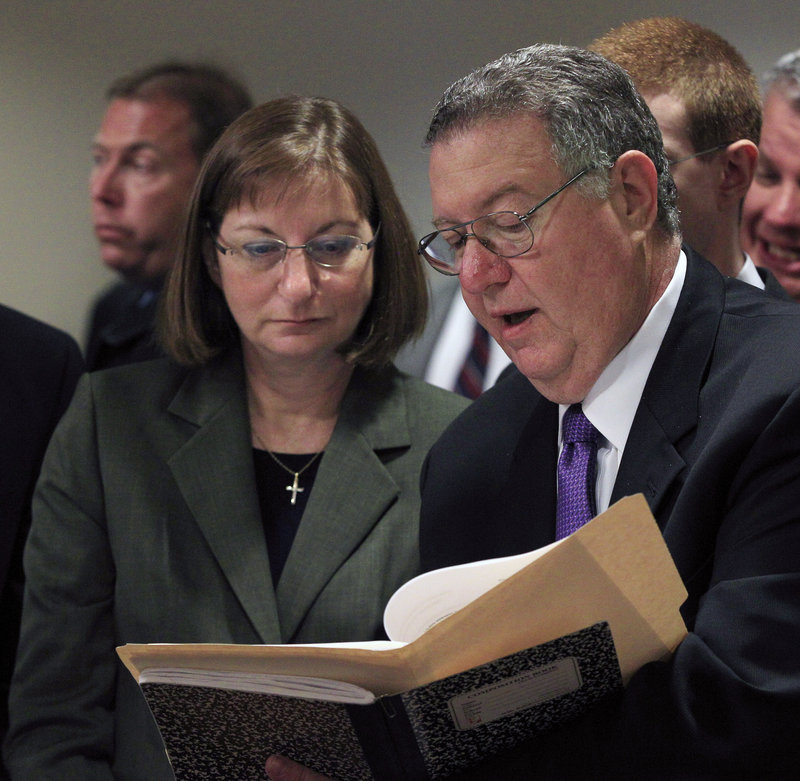 Tyler Clementi's parents, Joseph and Jane Clementi, prepare to make victim-impact statements Monday during a sentencing hearing for Dharun Ravi in New Brunswick, N.J.