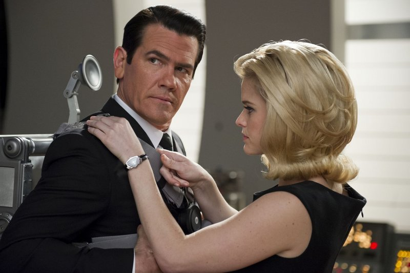 "Josh Brolin and Alice Eve, above, join the cast for a time-travel sequence in ""MIB3."""