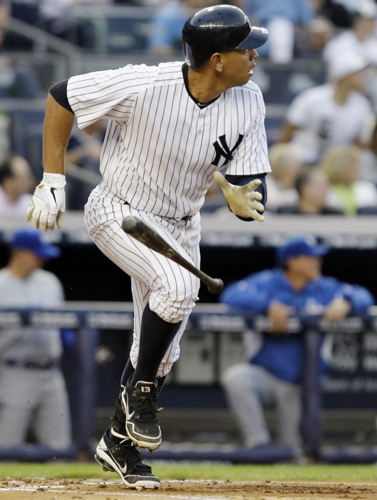 Alex Rodriguez of the Yankees watches his first-inning homer Wednesday night. A-Rod also homered in the third in an 8-3 win over Kansas City at New York.