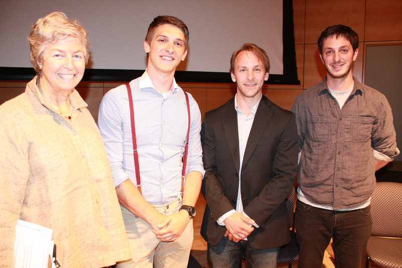 Anna Eleanor Roosevelt, presient and CEO of Goodwill Northern New England, with filmmakers Logen Christopher, Stuart Townsend and Jeff Griecci at the Circle of Films event Wednesday.