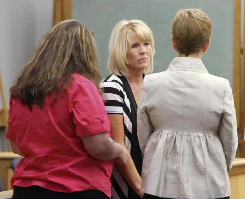 LaNell Shackley of Bridgton, mother of murder victim Krista Dittmeyer, looks to New Hampshire Senior Assistant Attorney General Jane Young after making a statement Thursday during the sentencing of Anthony Papile in Carroll County Superior Court.