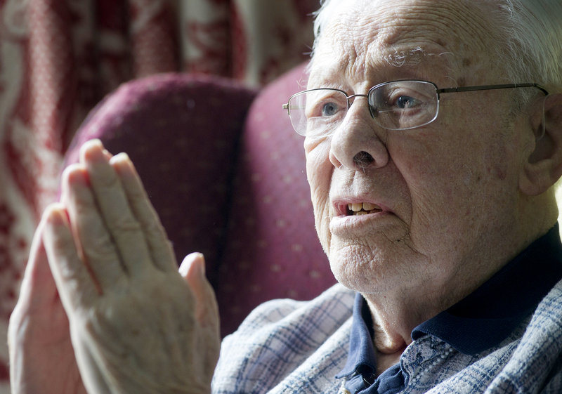 Ninety-two-year-old Jim Robinson, a World War II veteran and resident of Scarborough, recalls a terrifying storm that struck while he was serving aboard the USS McKee in the South Pacific.