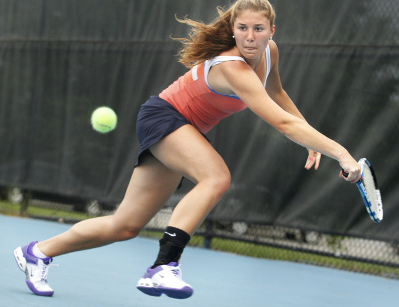 Annie Criscione of Falmouth reached the girls' singles final for the first time after three previous trips to the semifinals, then pushed Brunswick's Maisie Silverman to the limit before losing 6-3, 4-6, 6-4.
