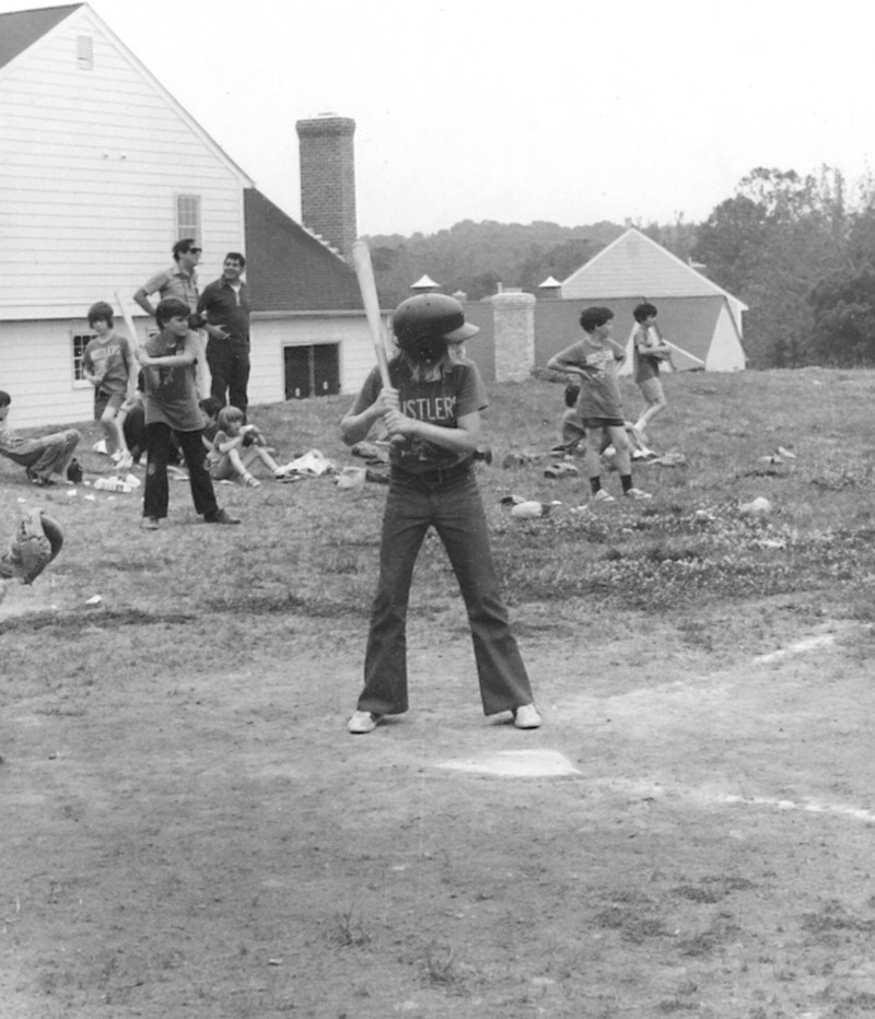 Janet Judge plays in a Little League baseball game in Potomac, Maryland in 1972,