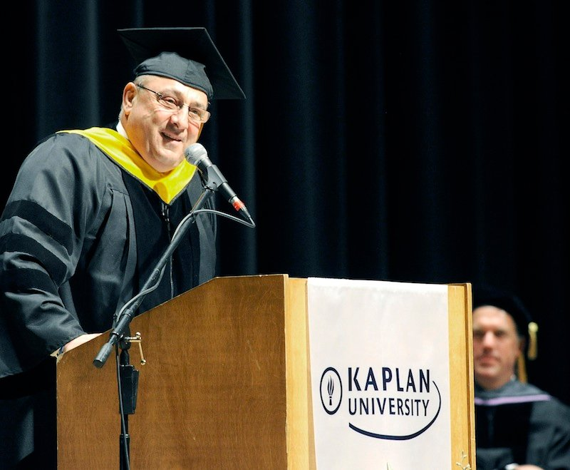 Gov. Paul LePage delivers the commencement speech at the Kaplan University graduation at Merrill Auditorium in Portland on Saturday, June 9, 2012.