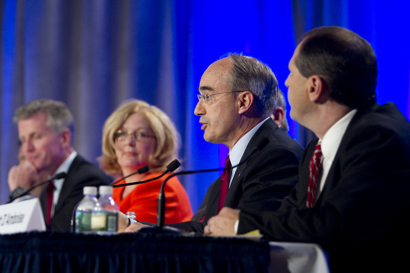 Bruce Poliquin, second from right, speaks at the debate for Republican candidates for U.S. Senate at the University of Southern Maine on Saturday night. Other candidates at the debated included, from left, Charlie Summers, Debra Plowman and Scott D'Amboise. Obscured are candidates Rick Bennett and William Schneider.