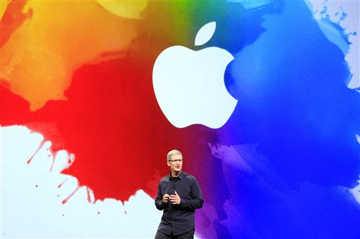 Apple CEO Tim Cook speaks during an event in San Francisco, Wednesday, March 7, 2012. Apple will reveal its new Macs and new software for the iPhone and iPad on Monday. (AP Photo/Jeff Chiu)