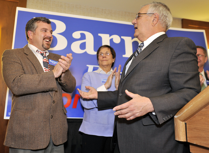 In this November 2010 file photo, U.S. Rep. Barney Frank, D-Mass., right, and his partner Jim Ready, left, celebrate Frank's re-election. Frank, now retired, hopes to help Maine legalize same-sex marriage this fall. (AP Photo/Josh Reynolds, File)