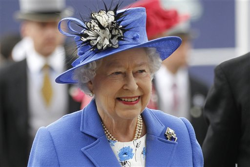 Britain's Queen Elizabeth II arrives for the Epsom Derby at Epsom race course, southern England, today at the start of a four-day celebration to mark the 60th anniversary of the queen's accession to the throne.
