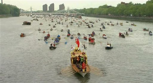 The Gloriana leads part of the flotilla of 1,000 vessels on the River Thames, during a river pageant to celebrate the queen's Diamond Jubilee in London.