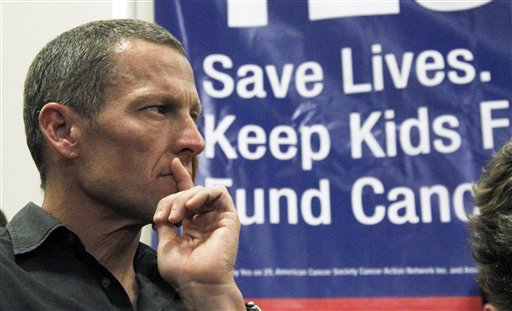 Cycling legend and cancer survivor Lance Armstrong attends a rally at a news conference at Children's Hospital in Los Angeles in favor of Proposition 29, a measure on the June 2012 California primary election ballot that would add a $1-per-pack tax on cigarettes.