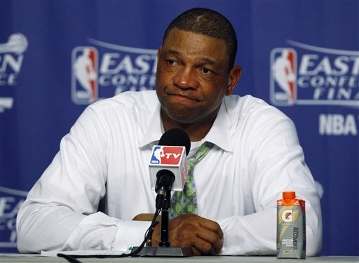 Boston Celtics coach Doc Rivers listens during a news conference after Game 7 of the NBA basketball playoffs Eastern Conference finals against the Miami Heat, Saturday, June 9, 2012, in Miami. The Heat defeated the Celtics 101-88. (AP Photo/Wilfredo Lee)