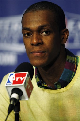 Boston Celtics' Rajon Rondo listens to a question during the post game news conference after Game 7 of the NBA basketball playoffs Eastern Conference finals against the Miami Heat, Saturday, June 9, 2012, in Miami. The Heat defeated the Celtics 101-88. (AP Photo/Wilfredo Lee)