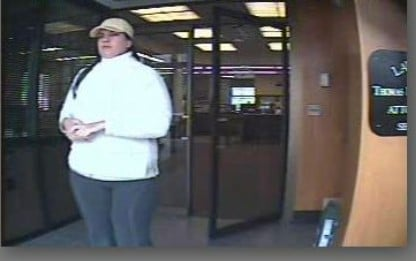 This police photo shows an image of the woman who robbed the Bank of New Hampshire in Conway, N.H., on May 21.