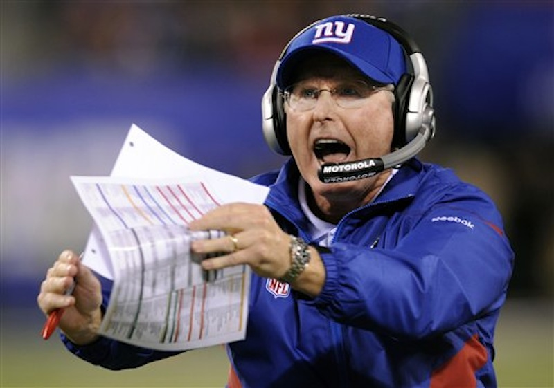 In this, Sept. 19, 2011, file photo, New York Giants head coach Tom Coughlin reacts during the second quarter of an NFL football game against the St. Louis Rams in East Rutherford, N.J. The Giants face the New England Patriots in Super Bowl XLVI on Sunday, Feb. 5, 2012, in Indianapolis. (AP Photo/Bill Kostroun, File)