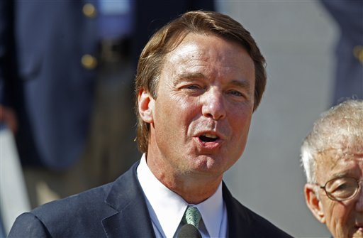 Ex-presidential candidate John Edwards speaks outside a federal courthouse after the jury's verdict in his trial on charges of campaign corruption in Greensboro, N.C., on May 31, 2012.