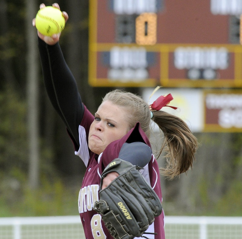 Thornton pitcher Julia Geaumont delivers a pitch May 3, 2012 during a battle bewteen Thornton Academy and Scarborough in Saco. Geaumont has been named Maine Gatorade Softball Player of the Year.