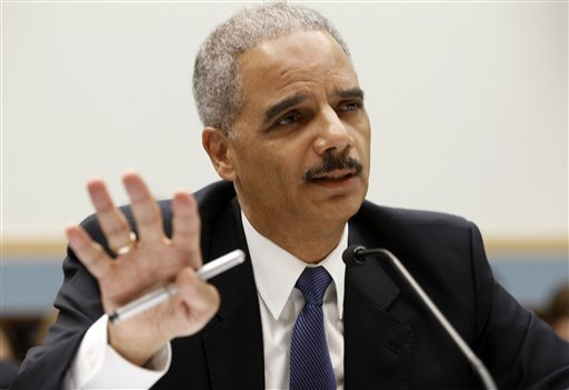 Attorney General Eric Holder testifies on Capitol Hill in Washington, Thursday, June 7, 2012. (AP Photo/Charles Dharapak)