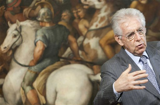 Italian premier Mario Monti attends a news conference during his meeting with Swiss President Eveline Widmer-Schlumpf at Rome's Palazzo Chigi Government office on Tuesday.