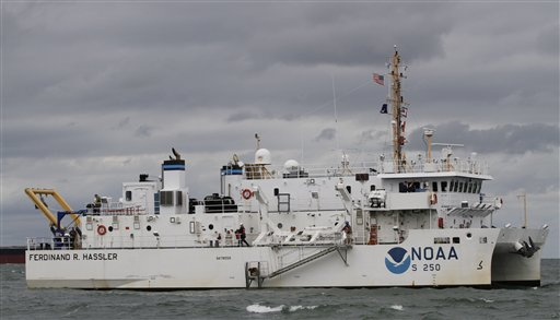 NOAA's research ship Ferdinand R. Hassler prepares to test it's new side scan sonar system in Norfolk, Va.