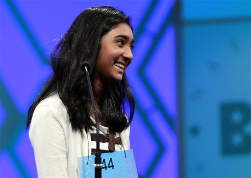 Stuti Mishra, 14, of West Melbourne, Fla., reacts after spelling a word during the finals of the National Spelling Bee Thursday in Oxon Hill, Md.