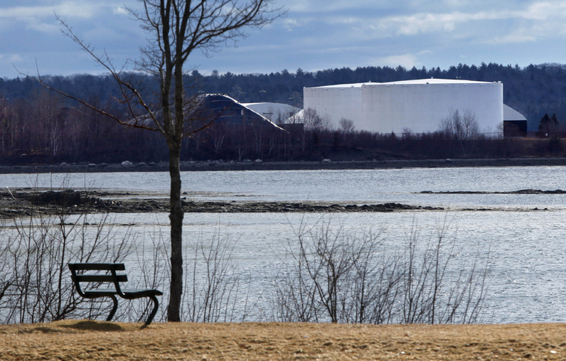 Fuel tanks are seen from a town park in Searsport on Friday. Townspeople on Saturday voted 297 to 165 against a moratorium that would have slowed or possibly derailed a proposal to build a 14-story-high storage tank for propane. (AP Photo / Robert F. Bukaty)