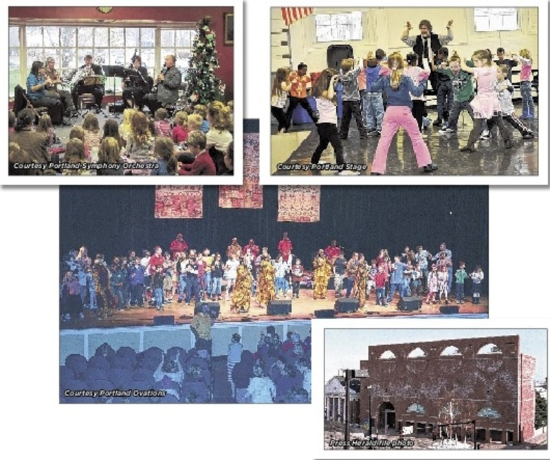 "Here are photos from four cultural organizations that would benefit from ""Culture Club – Portland"": At top left, a 2012 KinderKonzert performance of ""Peter and the Wolf"" by the Portland Symphony Orchestra; top right, Andrew Harris, theater arts educator, leads an in-school workshop as part of Portland Stage's Community Outreach with schools; center, students join members of the Creole Choir of Cuba onstage at Merrill Auditorium during a Portland Ovations School-Time Performance; and, at right, the Portland Museum of Art."