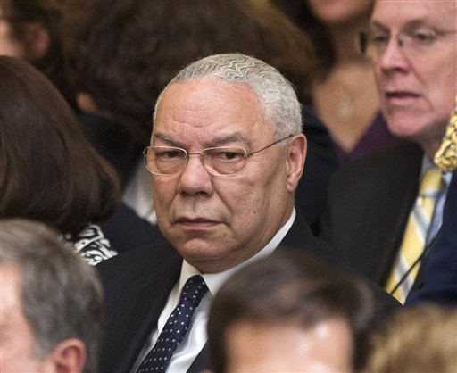 Former Secretary of State Colin Powell is seen in the East Room of the White House in Washington, Thursday, May 31, 2012, during a ceremony to unveil the official portraits of former President George W. Bush and former first lady Laura Bush. (AP Photo/Pablo Martinez Monsivais)