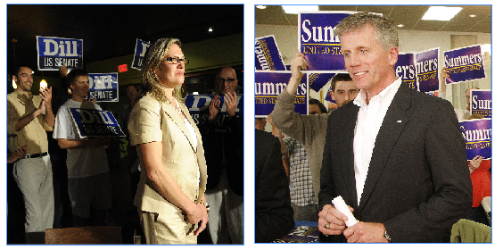 Democrat Cynthia Dill, left, and Republican Charlie Summers watch primary returns with supporters Tuesday.