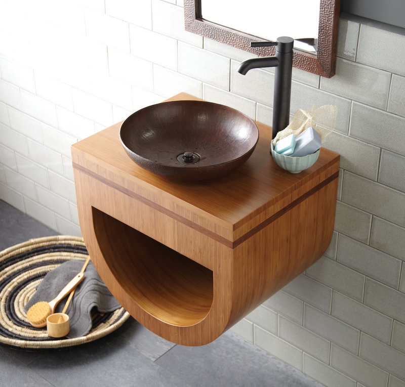 A Halcyon vanity of Forest Stewardship Council-certified caramel bamboo.