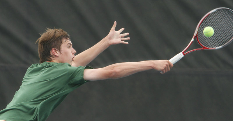 Patrick Ordway is looking to help Waynflete win its fifth consecutive state title in the Class C boys' tennis final against George Stevens Academy.