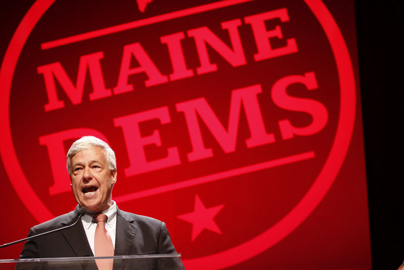 U.S. Rep. Mike Michaud, who represents Maine's 2nd Congressional District, addresses the Maine Democratic convention at the Augusta Civic Center on Friday. Today, Democrats will hear from the party's four candidates in the June 12 U.S. Senate primary.