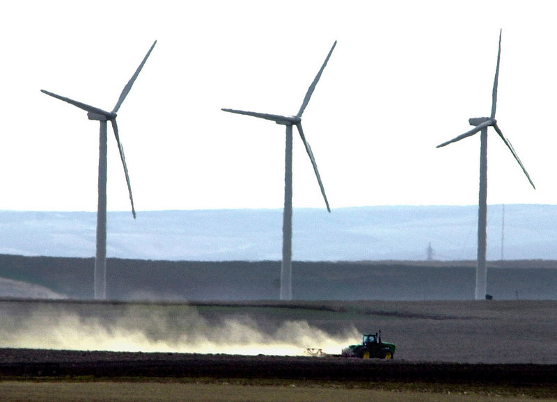 Turbines dominate the skyline on a farm near Wasco, Ore. Georgia doesn't have much wind, but with a big convention next week, it's hoping to strengthen its parts-building niche.