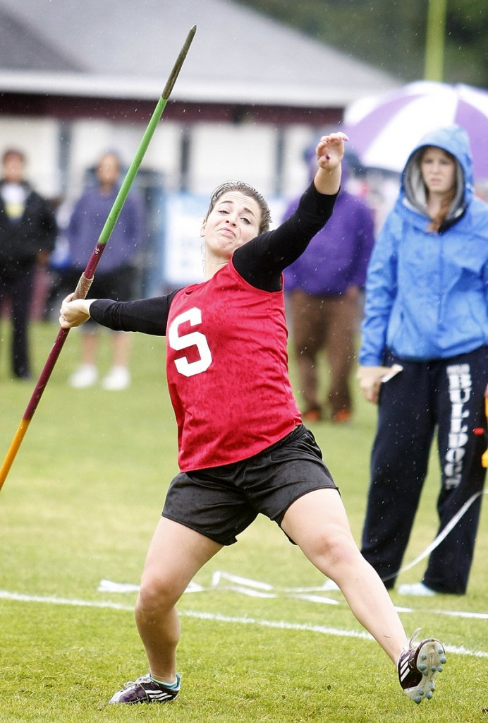 Nicole Farmer of Sanford throws the javelin in a meet that will be decided Wednesday.