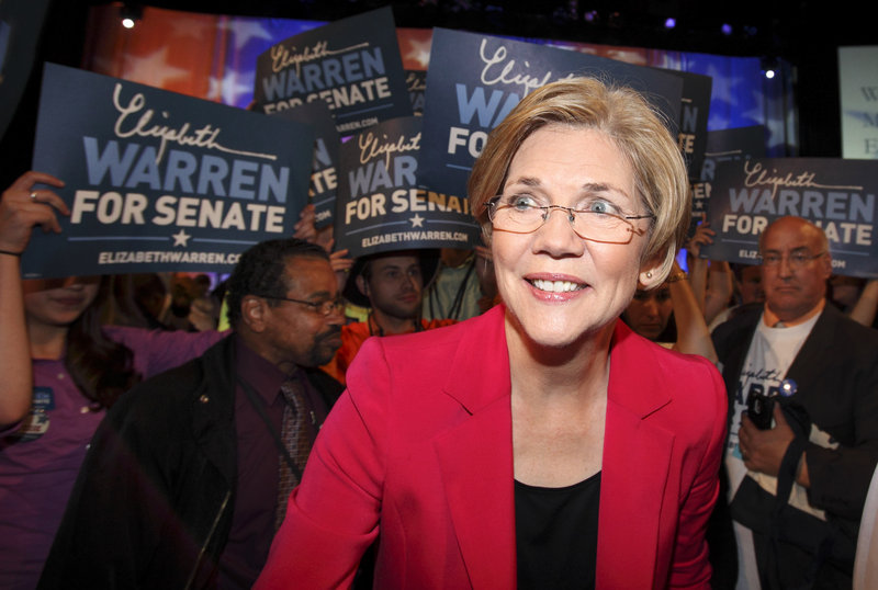 Elizabeth Warren, the presumptive Senate nominee, at Massachusetts' Democratic convention in Springfield Saturday.